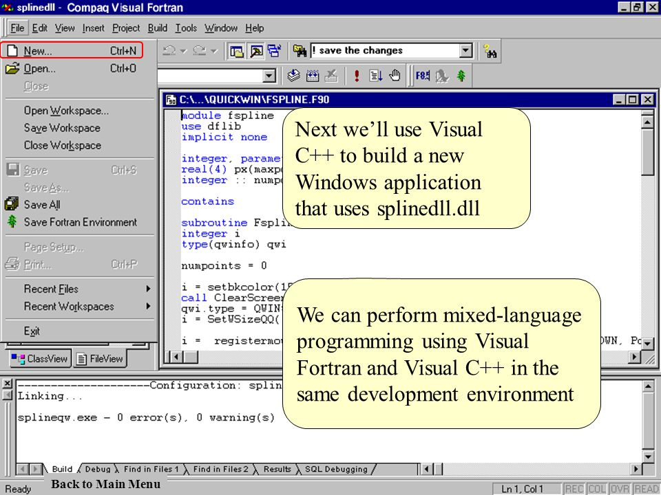 Next we'll use Visual C++ to build a new Windows application that uses splinedll.dll