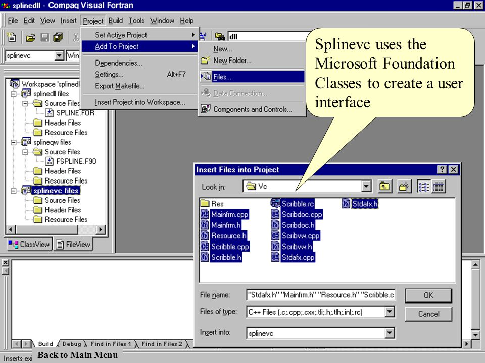 Splinevc uses the Microsoft Foundation Classes to create a user interface