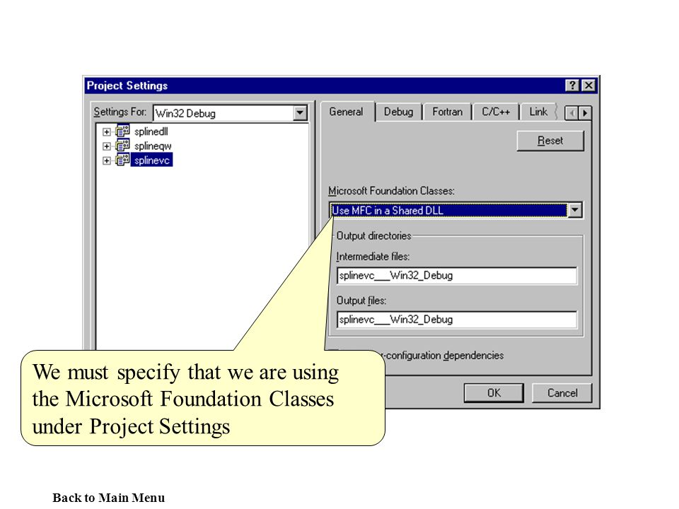 We must specify that we are using the Microsoft Foundation Classes under Project Settings