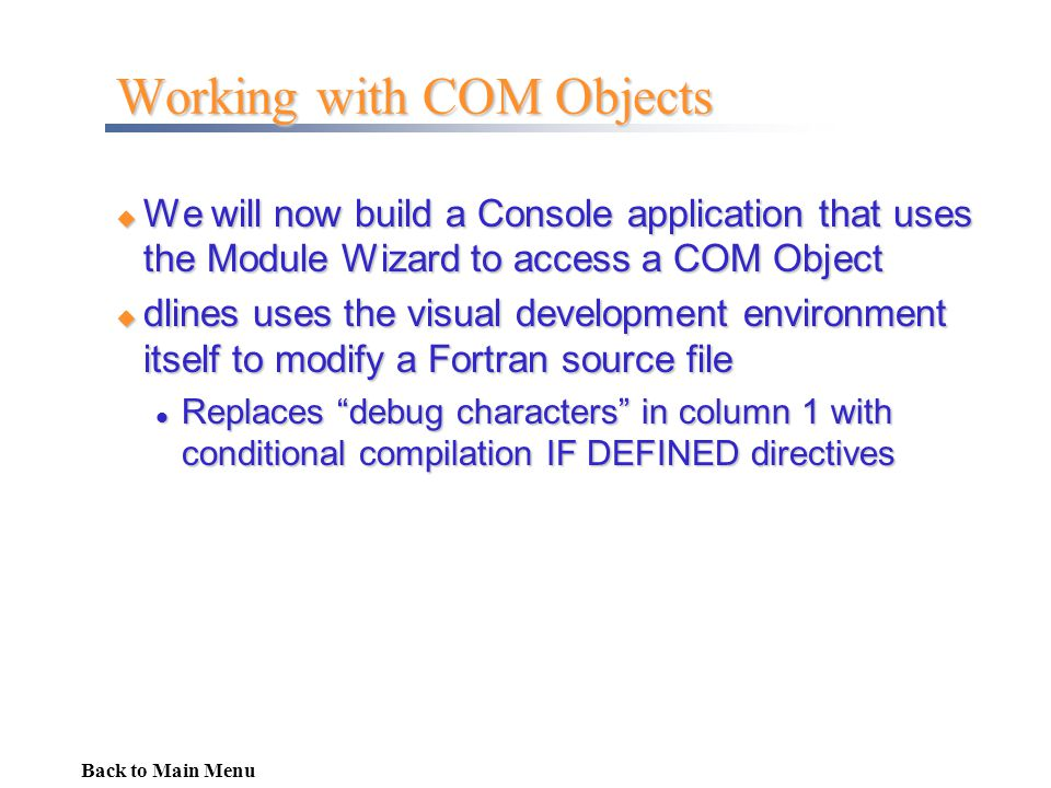 Working with COM Objects