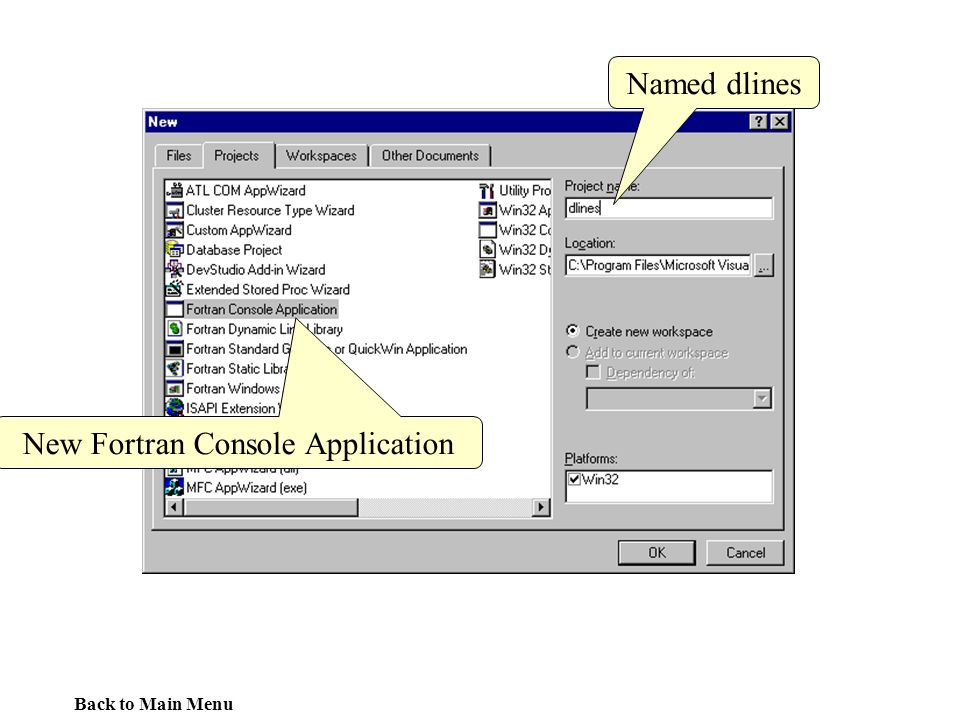 New Fortran Console Application