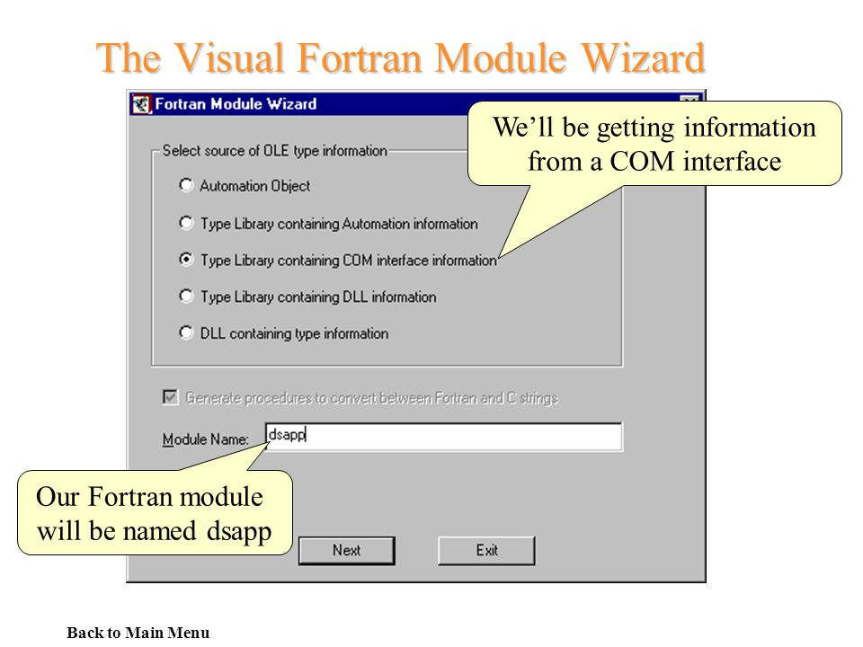 The Visual Fortran Module Wizard