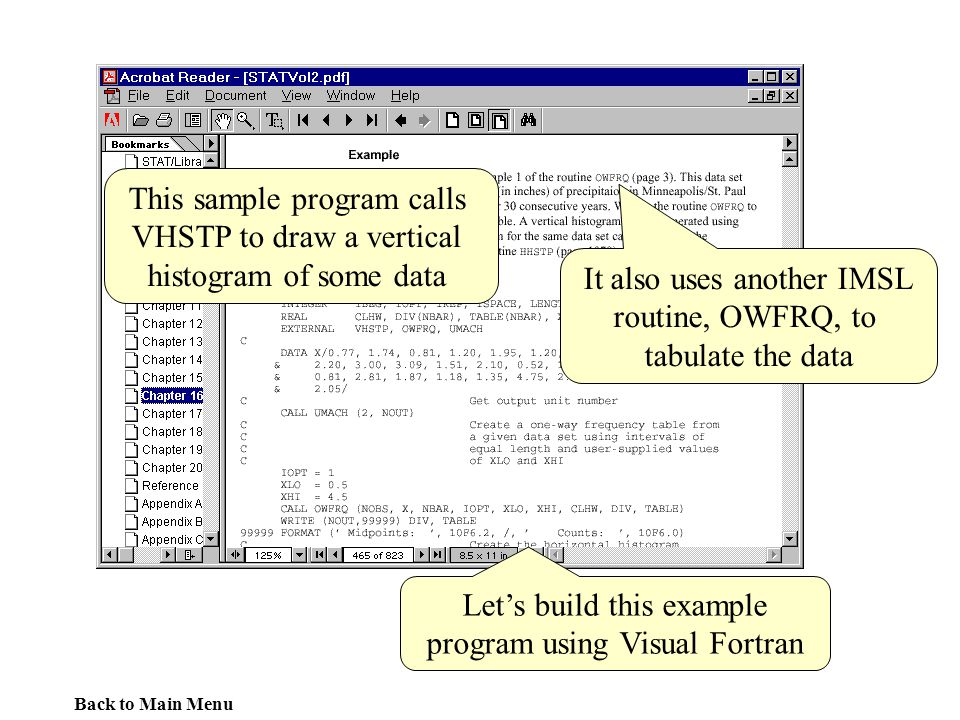 This sample program calls VHSTP to draw a vertical