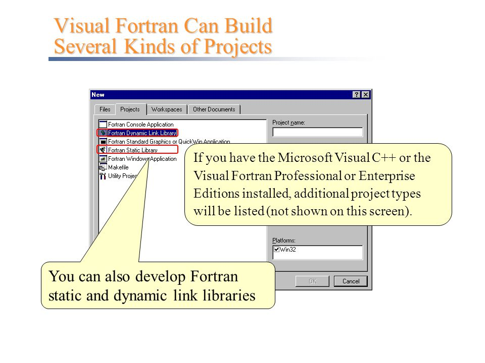 Visual Fortran Can Build Several Kinds of Projects