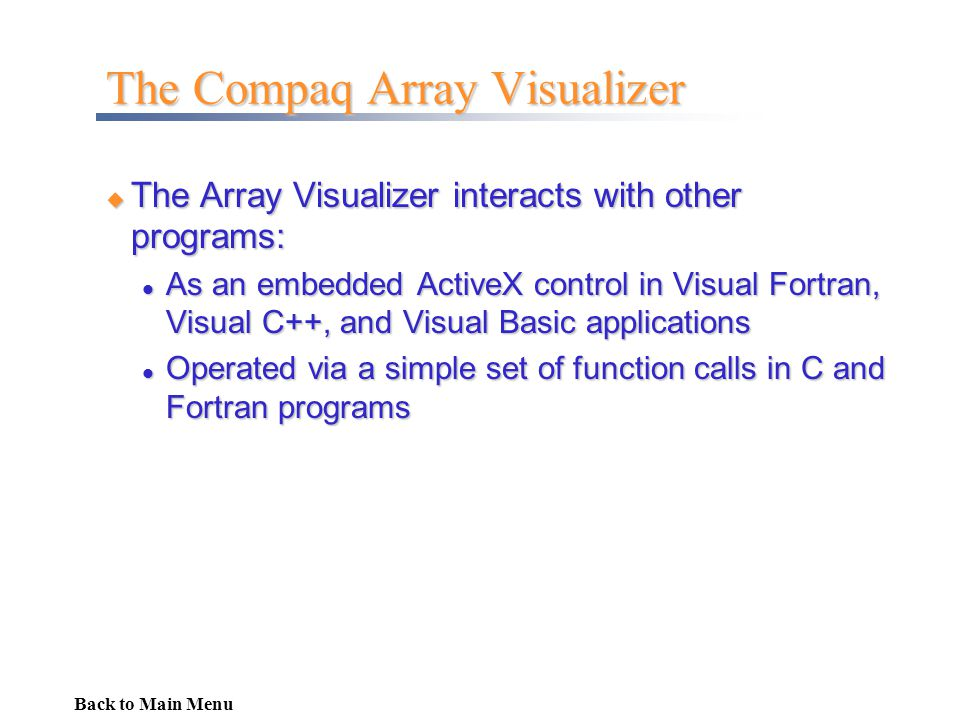 The Compaq Array Visualizer