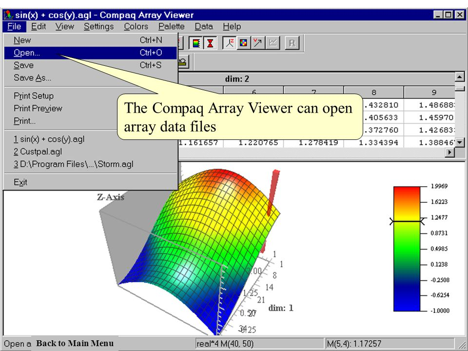 The Compaq Array Viewer can open array data files