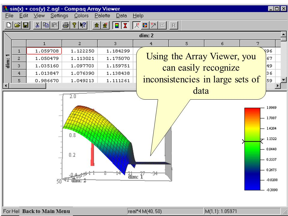 Using the Array Viewer, you can easily recognize inconsistencies in large sets of data