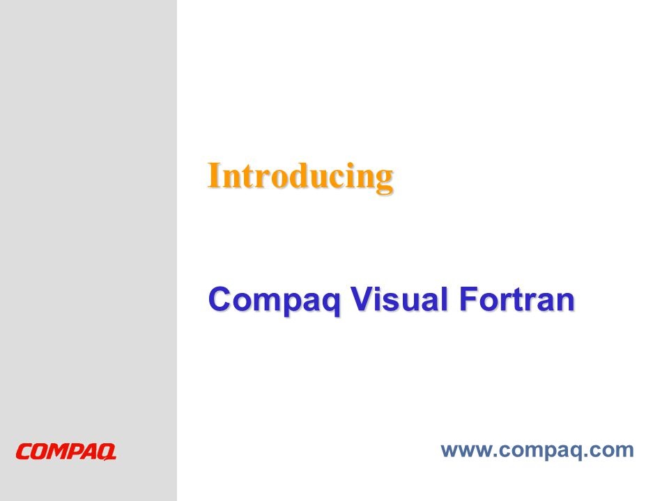 Introducing Compaq Visual Fortran