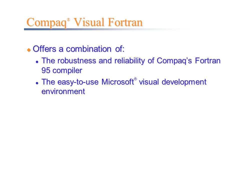 Compaq® Visual Fortran