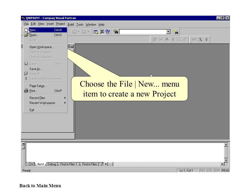 Choose the File | New... menu item to create a new Project