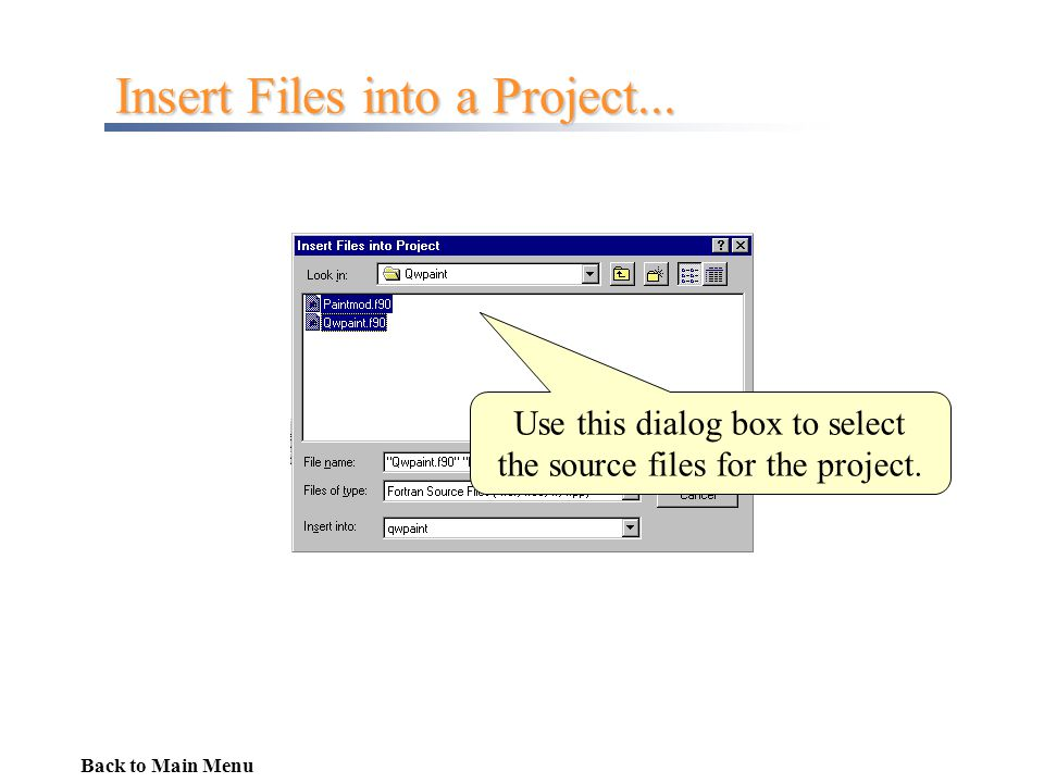 Insert Files into a Project...