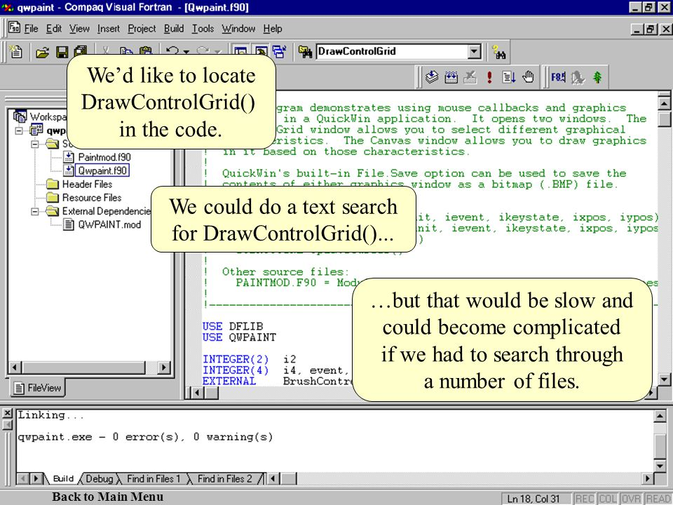 We could do a text search for DrawControlGrid()...