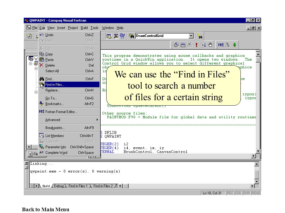 We can use the Find in Files tool to search a number