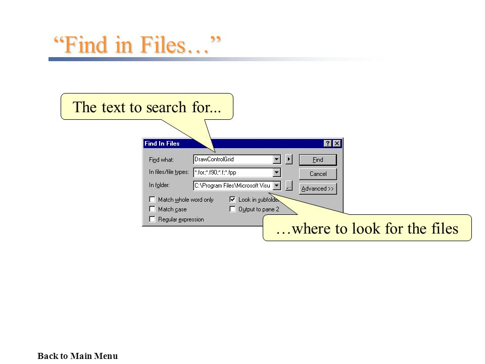 …where to look for the files
