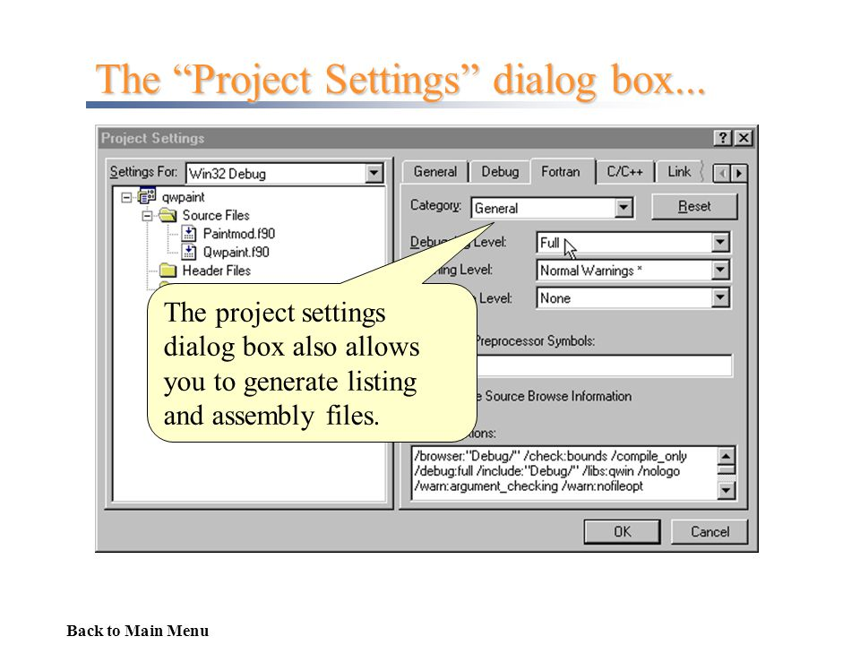 The Project Settings dialog box...
