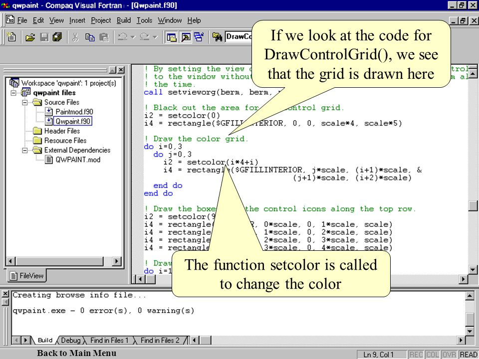 If we look at the code for DrawControlGrid(), we see