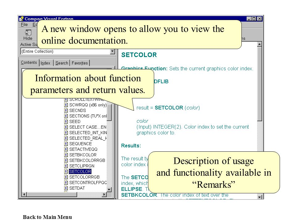 A new window opens to allow you to view the online documentation.