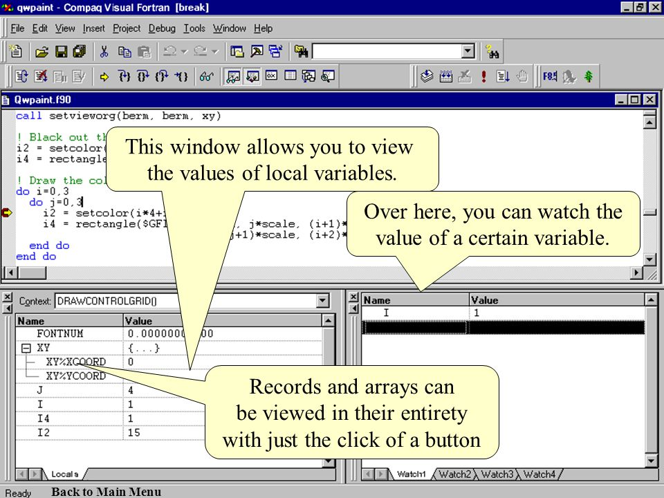 This window allows you to view the values of local variables.