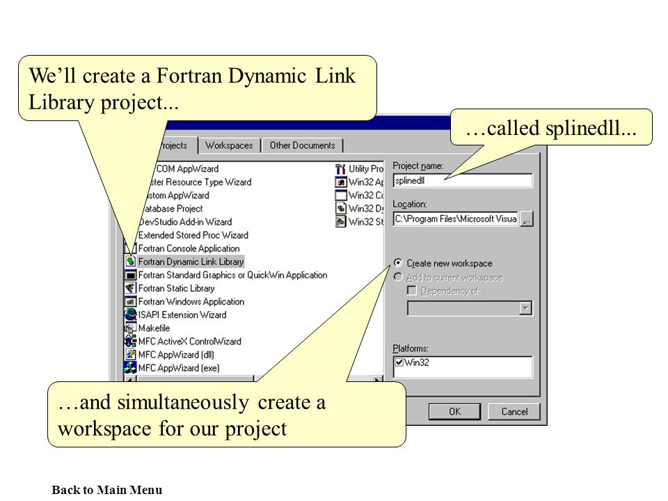 We'll create a Fortran Dynamic Link Library project...