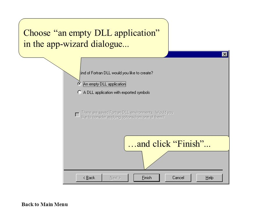 Choose an empty DLL application in the app-wizard dialogue...