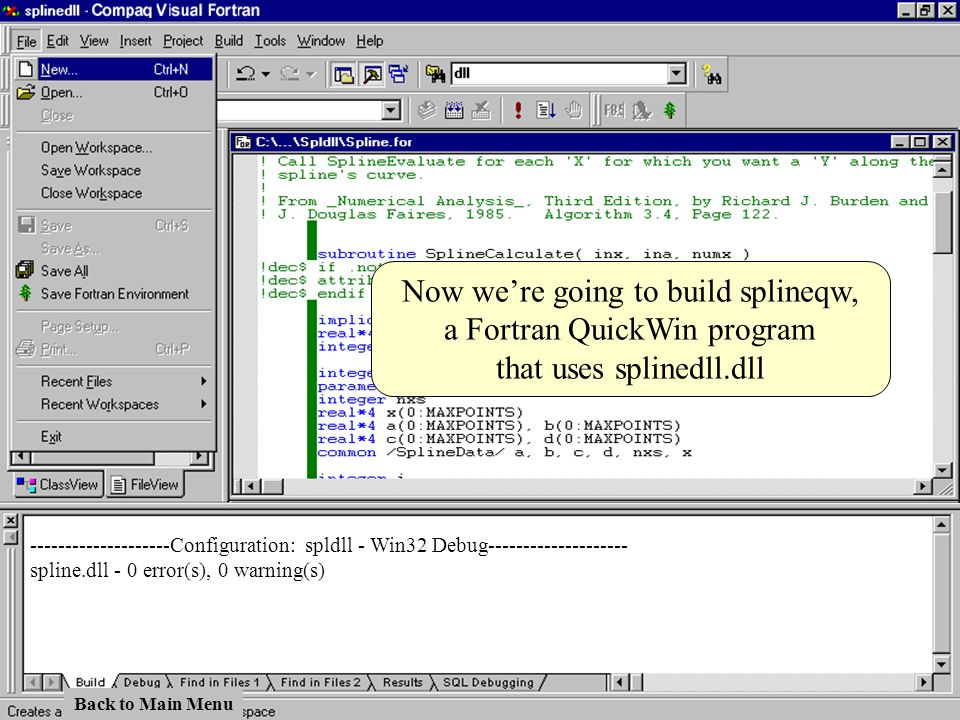 Now we're going to build splineqw, a Fortran QuickWin program