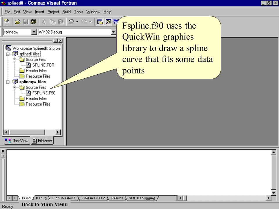 Fspline.f90 uses the QuickWin graphics library to draw a spline curve that fits some data points