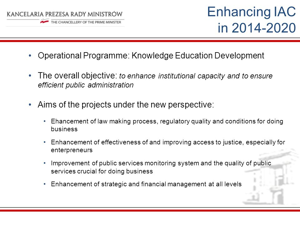 Enhancing IAC in Operational Programme: Knowledge Education Development.