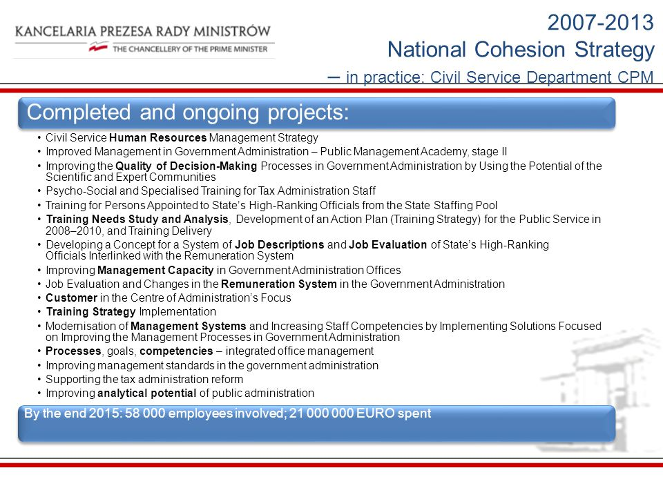 National Cohesion Strategy – in practice: Civil Service Department CPM