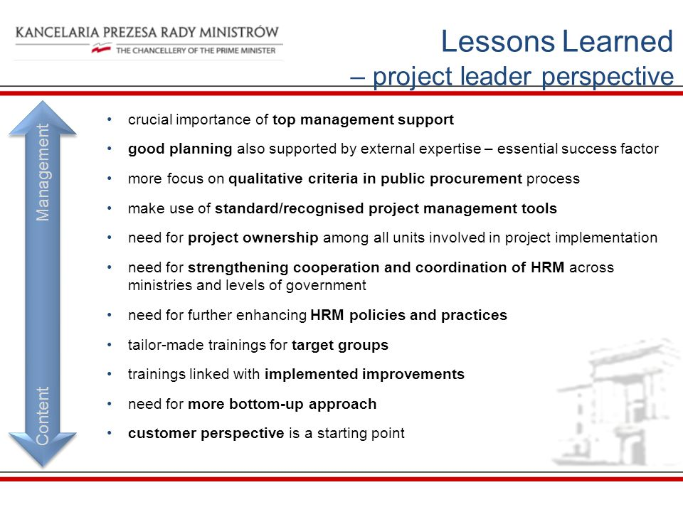 Lessons Learned – project leader perspective Content Management