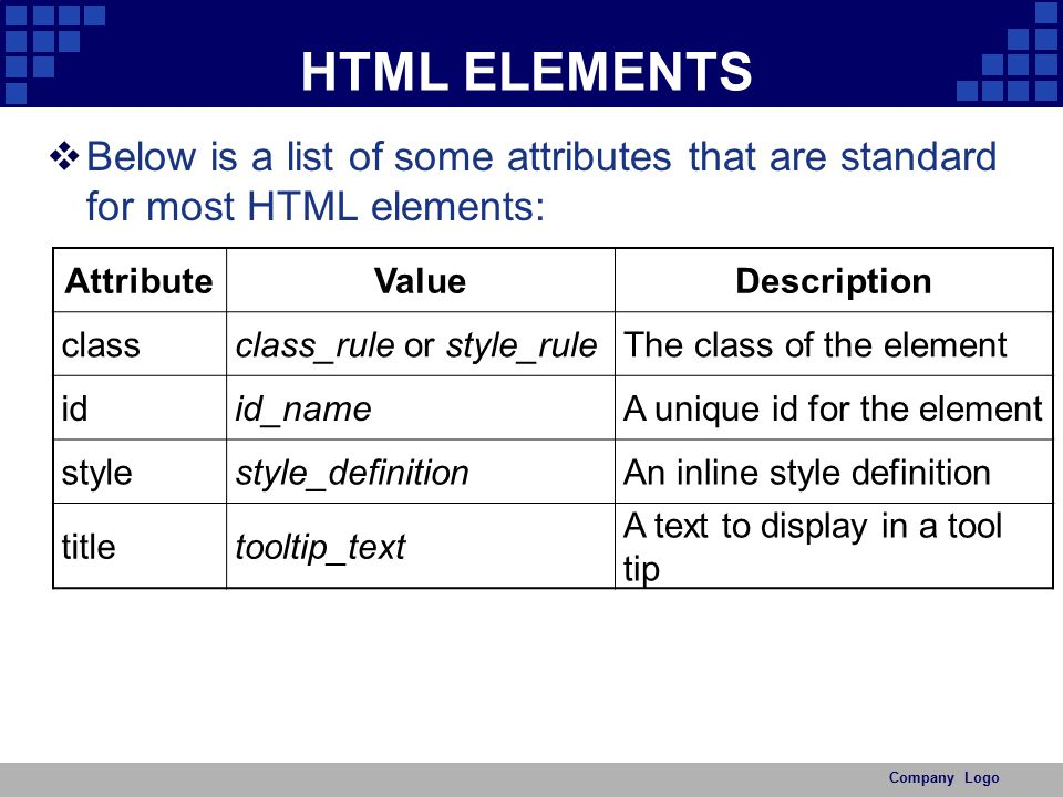 HTML ELEMENTS Below is a list of some attributes that are standard for most HTML elements: Attribute.
