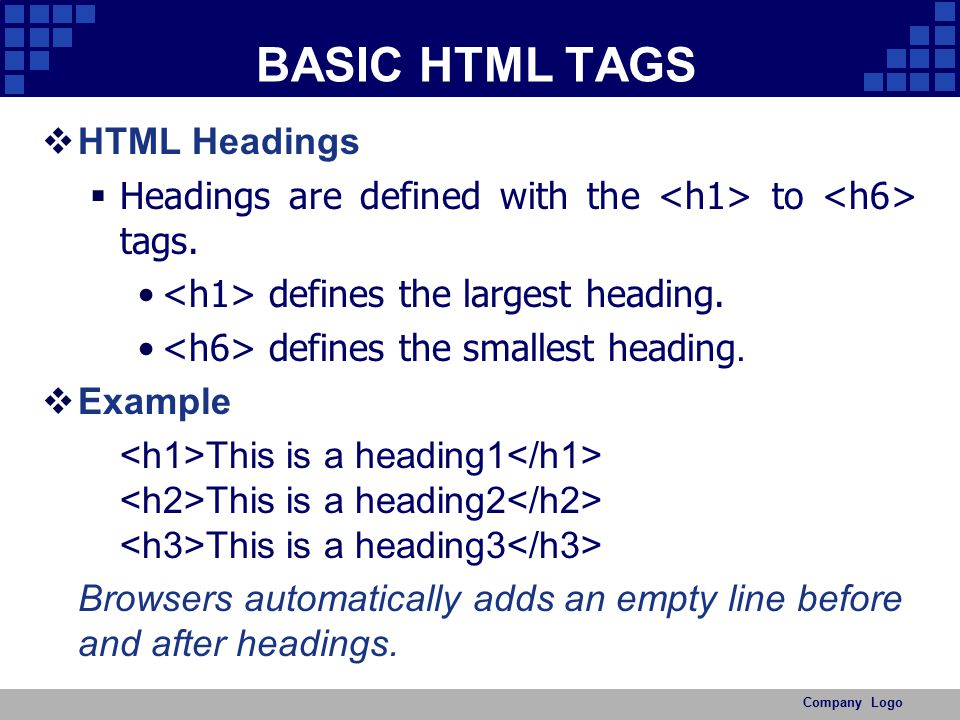BASIC HTML TAGS HTML Headings