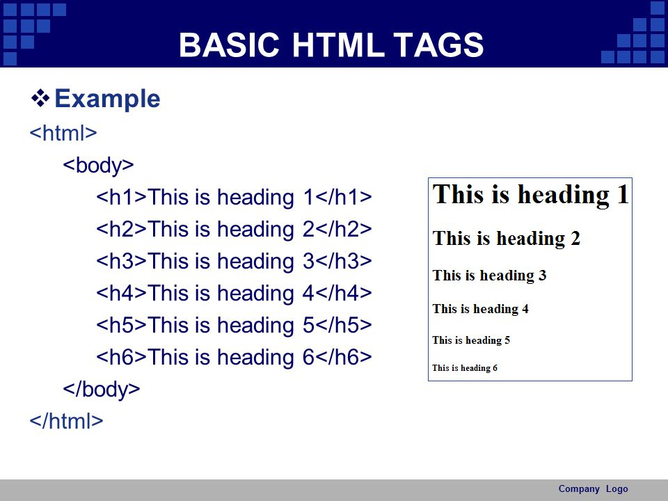 BASIC HTML TAGS Example <html> <body>