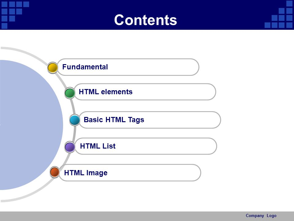 Contents Fundamental HTML elements Basic HTML Tags HTML List