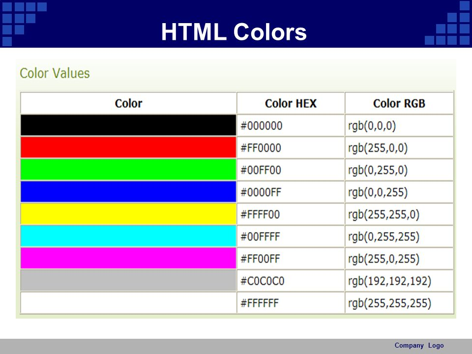 HTML Colors Company Logo
