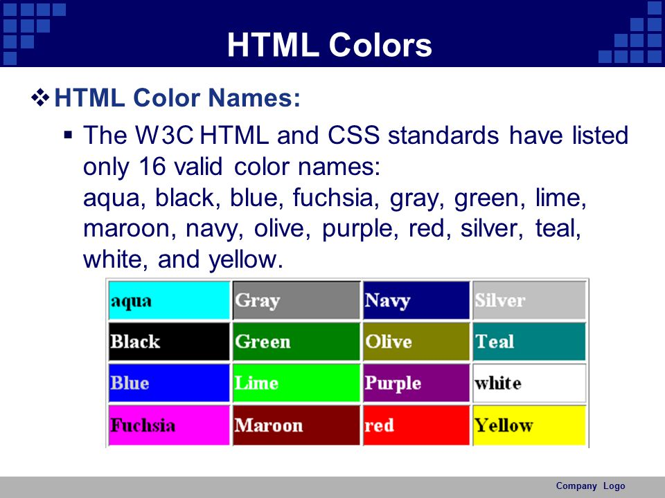 HTML Colors HTML Color Names:
