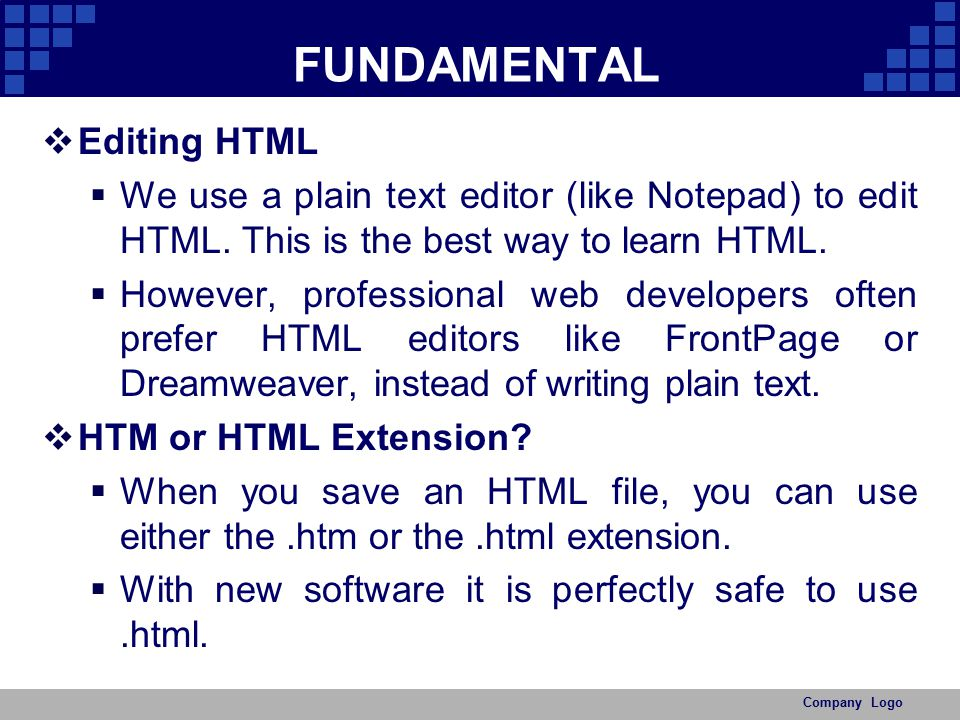 FUNDAMENTAL Editing HTML