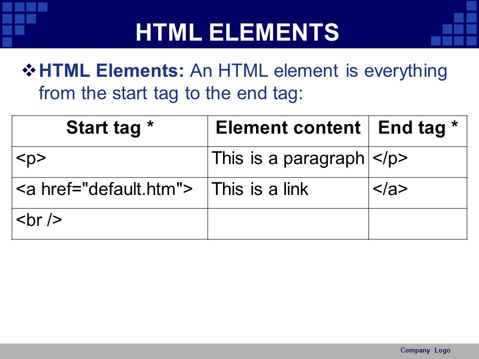HTML ELEMENTS HTML Elements: An HTML element is everything from the start tag to the end tag: Start tag *