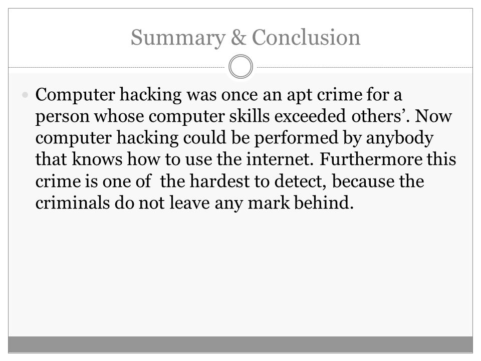 conclusion of hacking