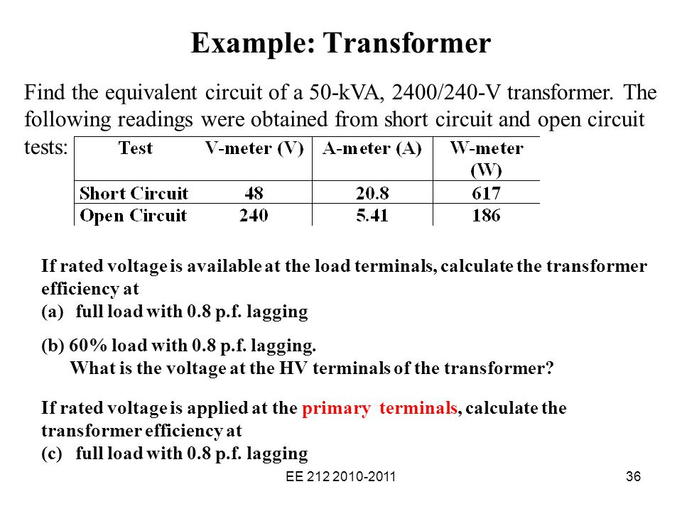 Solved: example2 the equivalent circuit impedances of a 20.