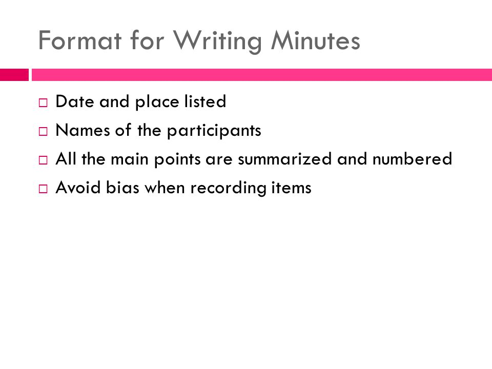 format for writing minutes