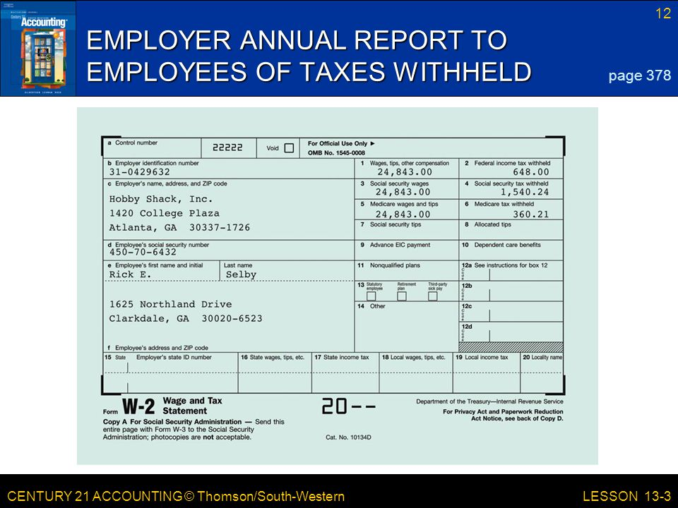 EMPLOYER ANNUAL REPORT TO EMPLOYEES OF TAXES WITHHELD
