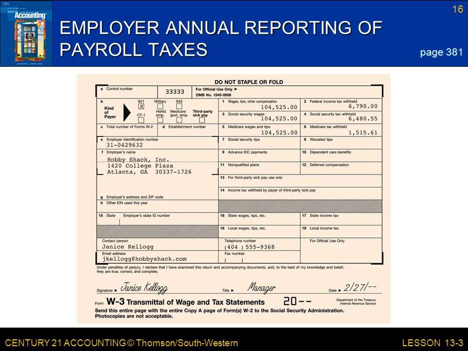 EMPLOYER ANNUAL REPORTING OF PAYROLL TAXES