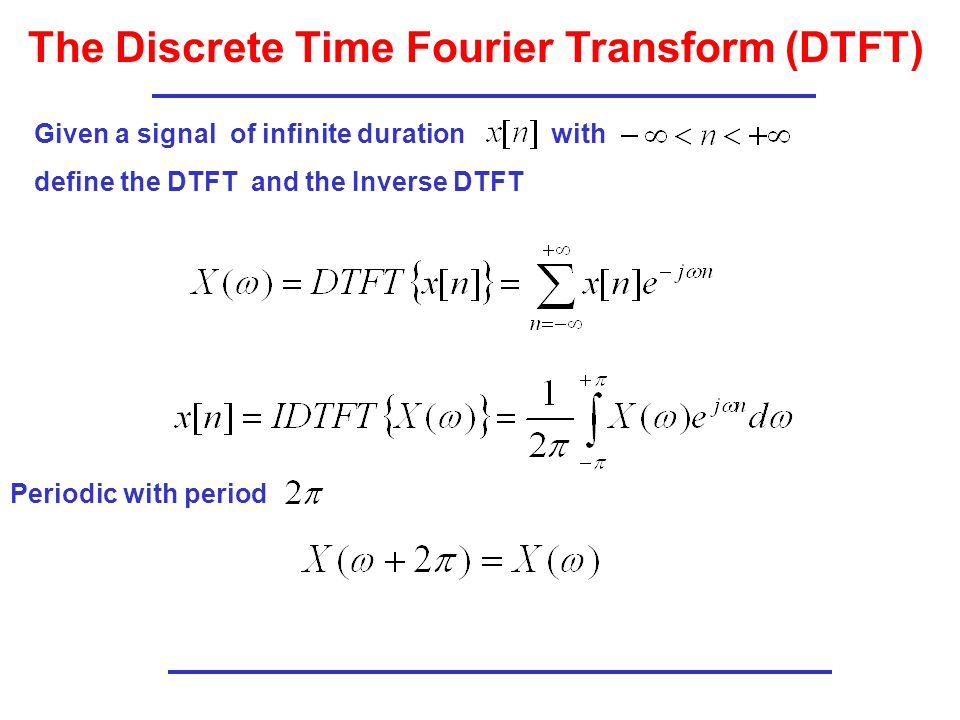 The Discrete Time Fourier Transform (DTFT)