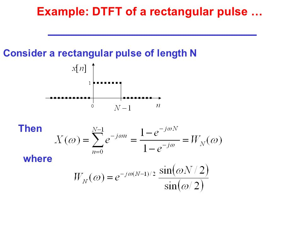 Example: DTFT of a rectangular pulse …