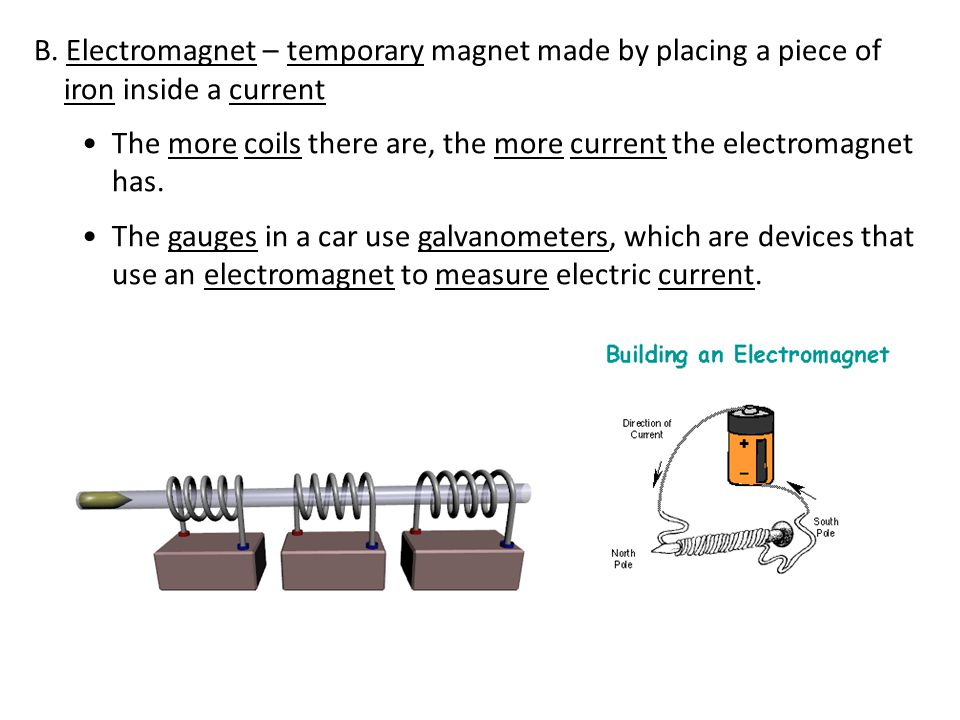 B. Electromagnet – temporary magnet made by placing a piece of iron inside a current