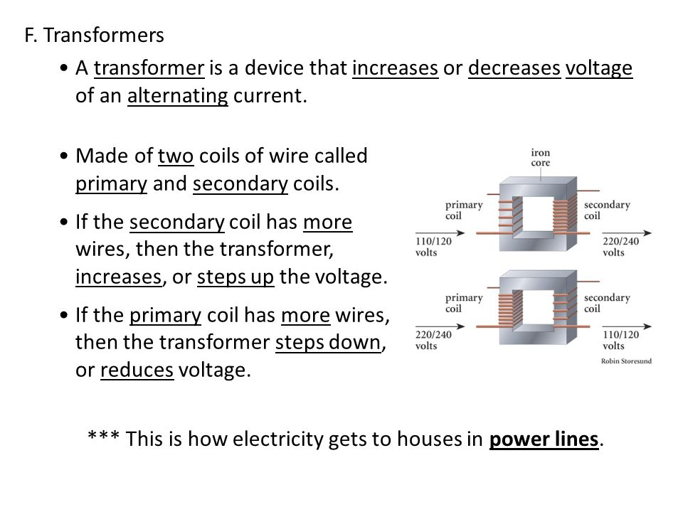F. Transformers A transformer is a device that increases or decreases voltage of an alternating current.