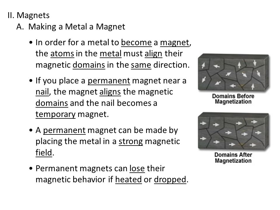 II. Magnets A. Making a Metal a Magnet.