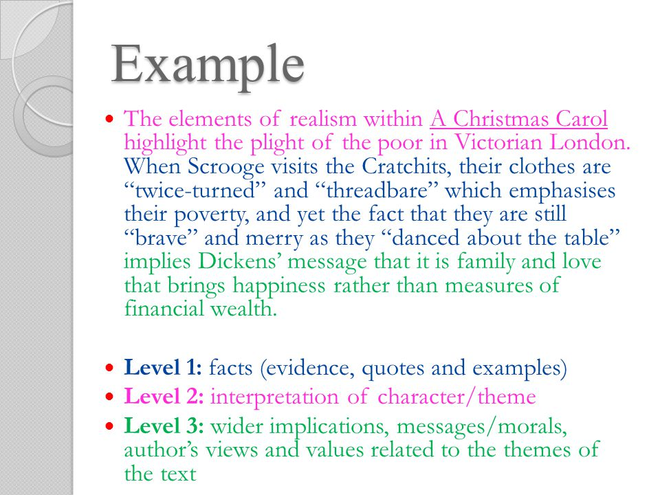 14 example the elements of realism within a christmas carol
