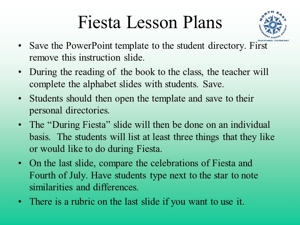 Fiesta Lesson Plans Save the PowerPoint template to the student ...