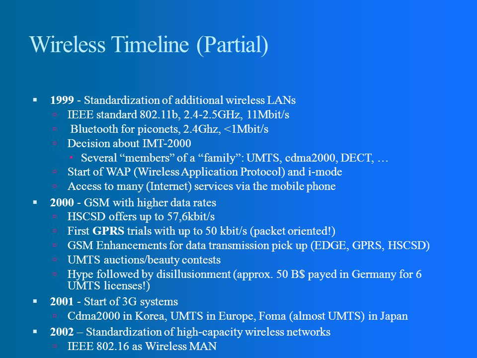 Wireless Timeline (Partial)